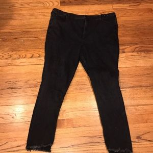 Black denim ankle leggings super high rise